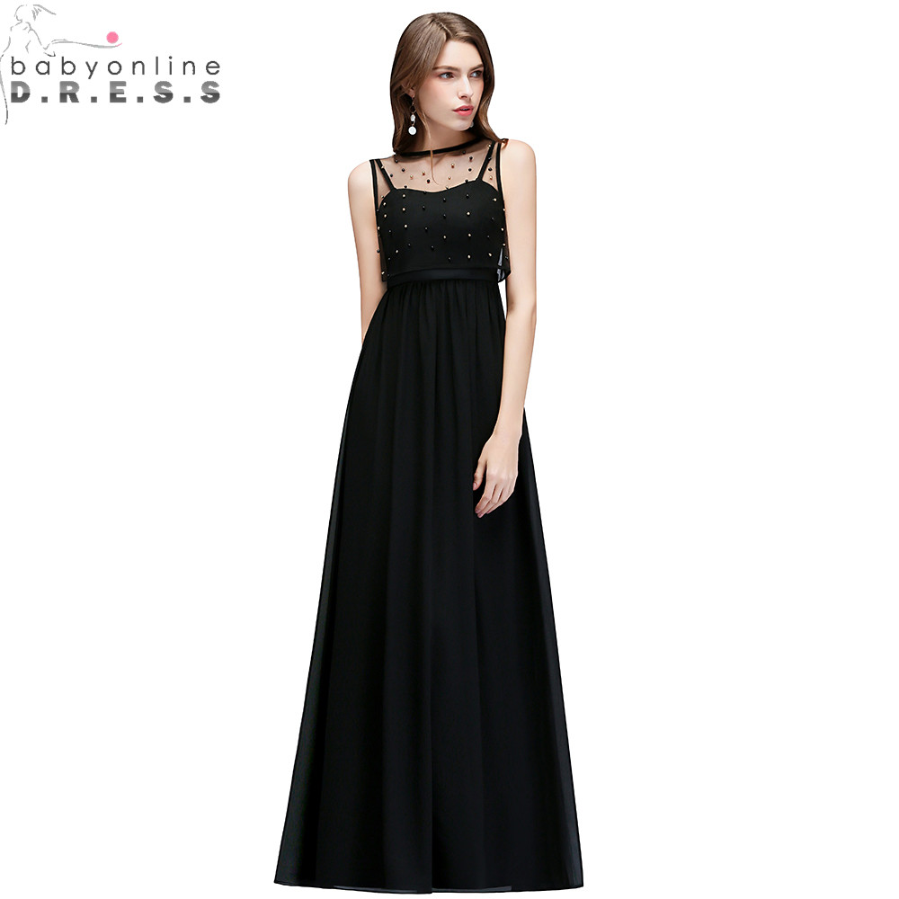 Sexy Transparent Black Long   Evening     Dress   with Pearls Unique Design Chiffon   Evening   Gown Vestido de Festa Longo