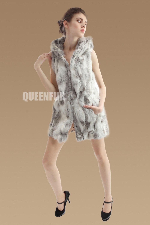 Женский вязаный жилет из натурального кроличьего меха, новинка, модное женское пальто без рукавов с капюшоном Md-long, тонкая теплая куртка ZL3322 - Цвет: grass gray