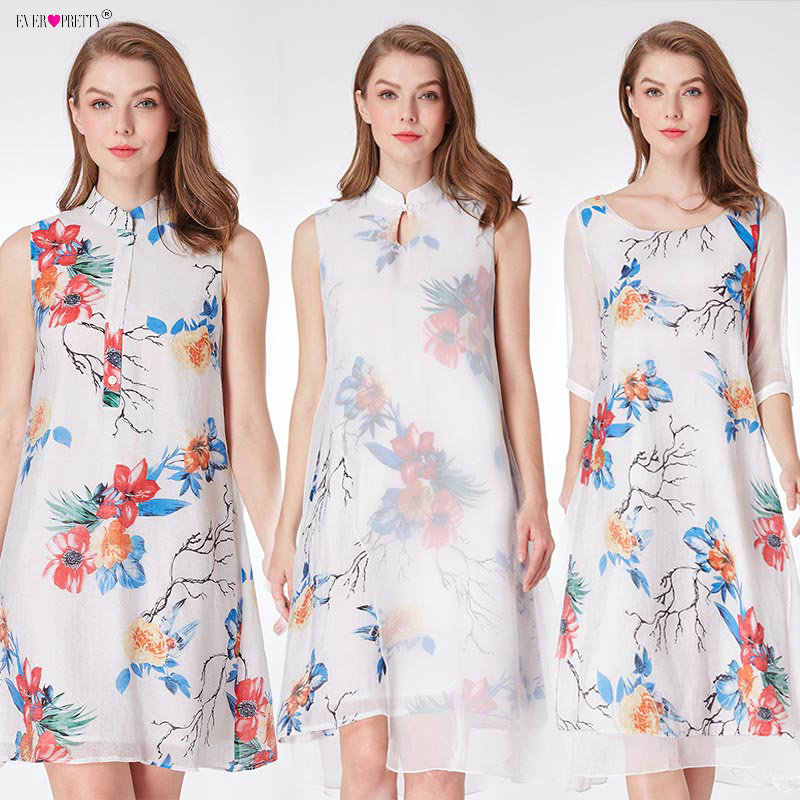 5eae6a28b46de Ever Pretty Vestido Novia Chinese Style Short Party Gown A-line 04000 White  Floral Print Half Sleeve Mother of The Bride Dresses
