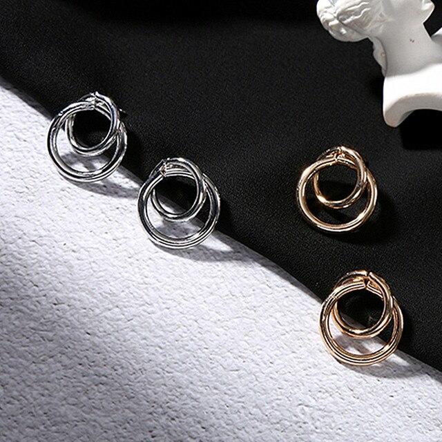 Stud Earrings Women Double Round Geometric Earring Fashion Jewelry  4