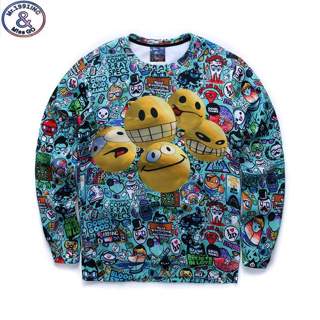 Mr.1991 juventude moda primavera Outono camisolas finas meninas grandes crianças adolescentes sportswear basculador impressos hoodies menino Dos Desenhos Animados 3D W1