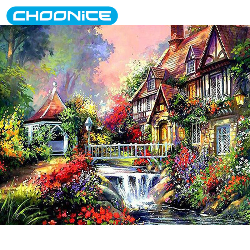 Landscape Garden Cross Stitch Birch Forest Painting Chalet Diamond Embroidery Flowers DI ...