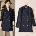 high qualiyt navy blue double breasted stripe long jacket turndown collar formal blazers for work office wear coat brand fashion