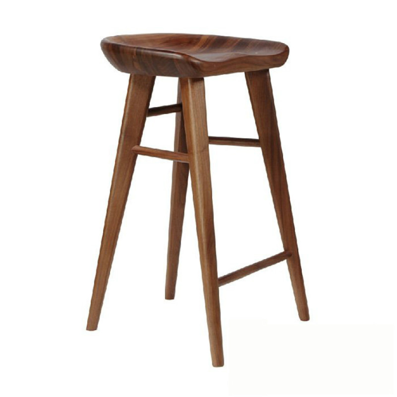 Nordic Solid Wood Bar Chair Bar Cocktail Front Desk Stool Rose