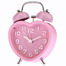 Hot Sale Cute Small Double-Bell Night Light Children Mini Quartz Alarm Clock Heart (Pink)