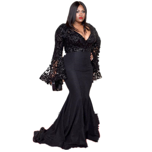 b5c7b5a8d1df Grammys Plus Size Formal Dresses V Neck Long Sleeves Beads Mermaid Prom Dress  Lace Applique Sweep Train Spring Black Evening Gow