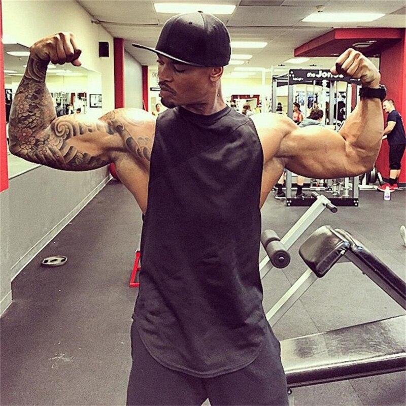 Bodybuilding Singlets Mens soild muscle shirt gyms   Tank     Tops   stringer Mens Vest fitness Clothing hip hop tanktop