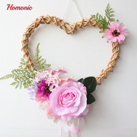 Natural Decorative Wreaths Natural For Weddings Dried Wicker Wreath Hanging Wedding Supplies Decoration With Pink Flower