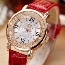 Señoras de La Manera Vestido de Las Mujeres Relojes de Oro Rosa de Cristal de Cuarzo Reloj de Pulsera de Cuero Casual Reloj Mujer montre femme reloj mujer