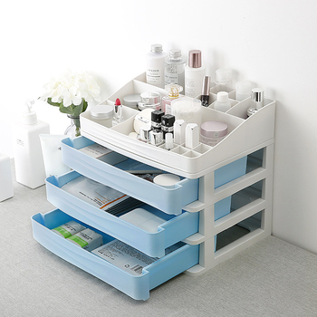 Multi Layered Plastic Makeup Organizer with Drawer for Jewelry and Cosmetics Storage Suitable for Bedroom and Bathroom