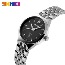 SKMEI лучший бренд роскошных леди Watche Для женщин кварцевые часы Водонепроницаемый Наручные часы Полный Сталь девушка женский часы Relogio Feminino 9071