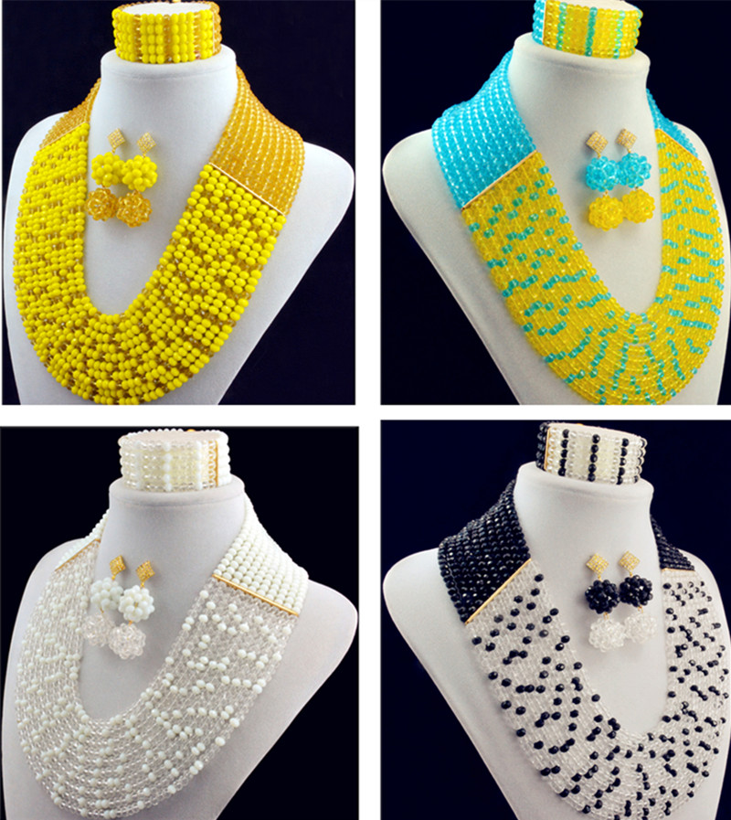 2016 Fashion Blue Yellow 6 Colors african crystal beads necklace set nigerian wedding african beads jewelry set Free shipping2016 Fashion Blue Yellow 6 Colors african crystal beads necklace set nigerian wedding african beads jewelry set Free shipping