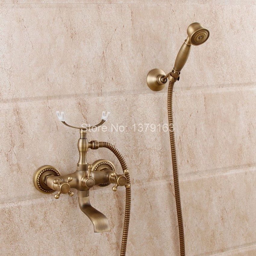 Antique Brass Two Cross Handles Wall Mounted Clawfoot Bath Tub Faucet Mixer Tap Telephone Style Hand Held Shower Head Set atf352 shower faucet wall mounted antique brass bath tap swivel tub filler ceramic style lift sliding bar with soap dish mixer hj 67040