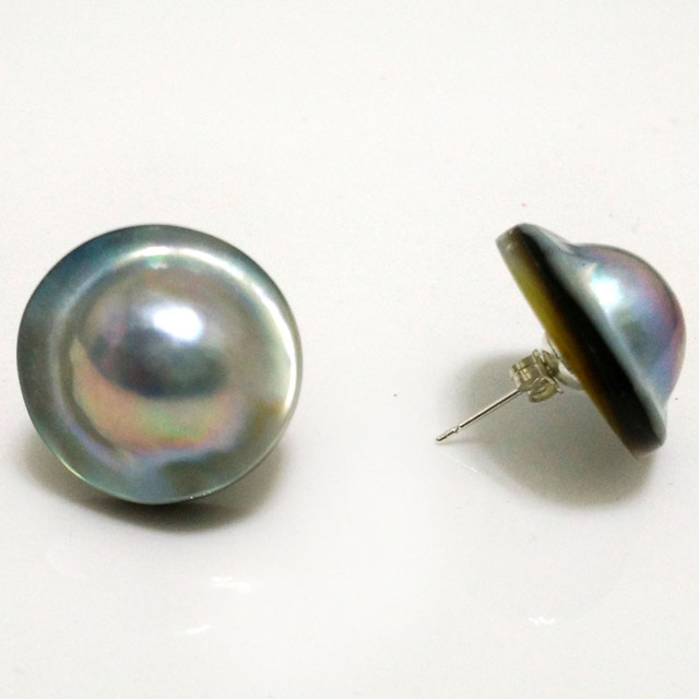 22mm Natural Aaa Gray Rondelle Sea Water Mabe Pearl Earring With Sterling Silver Stud