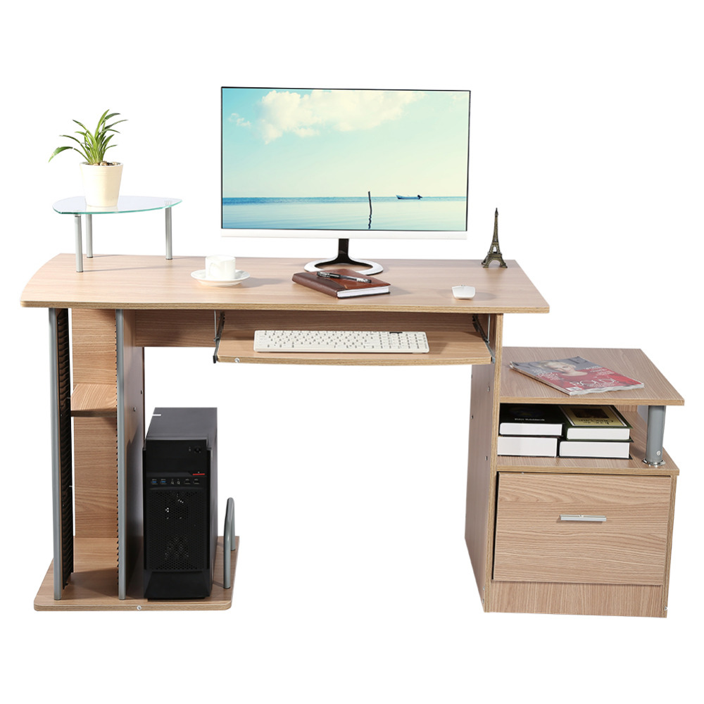 home computer desk office desk modern desktop computer workstation writing desk with storage rack furniture study - Cheap Office Desks