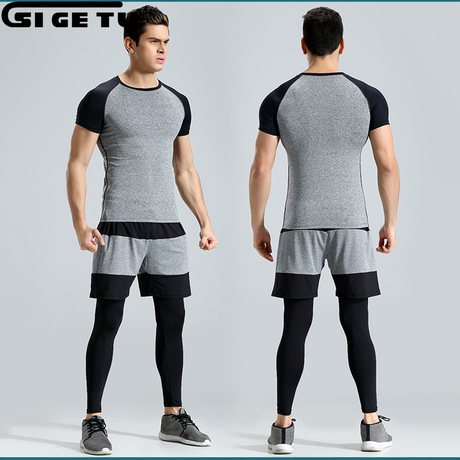 2018 New Mens Tracksuit Running Sportswear Training Basketball Fitness Compression Tight Shirts + Pants + Shorts 3 Pcs