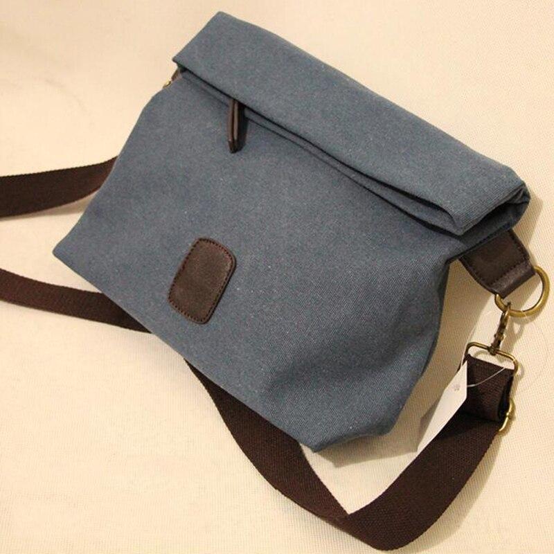 Canvas Crossbody Bag Men Vintage Messenger Shoulder Bag Casual Travel School Bags Large Capacity