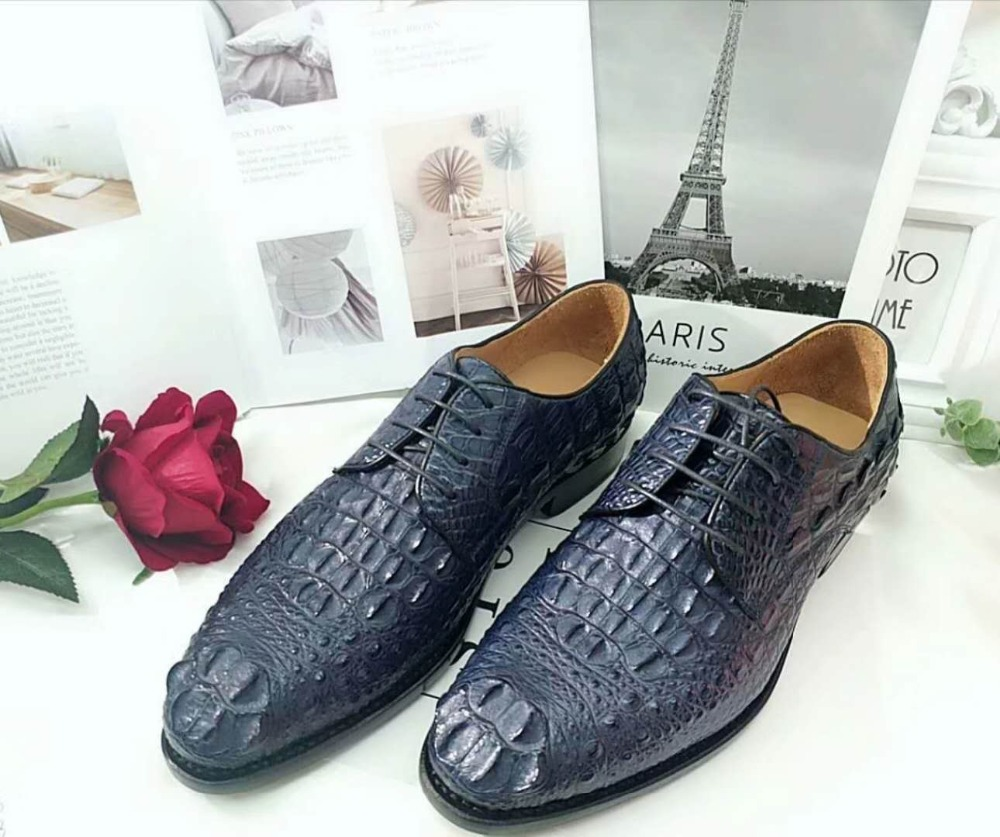 Formal Shoes 100% Genuine Real Crocodile Head Skin Men Shoe Durable Solid Crocodile Tail Skin Men Dress Business Shoe Dark Blue Color