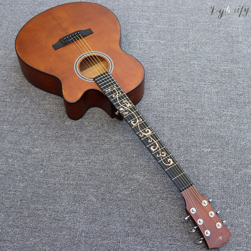 40inch vintage acoustic guitar flower inlay fretboard with pickup with good sound