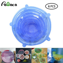 6pcs/set Net Snowflake Silicone Stretch Lids Universal to Keep Food Fresh Storage Covers for Fruit,Cup,Bowl,Dish