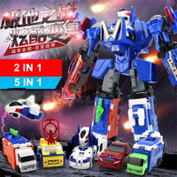 Action Figure Toys A Series Of Transformation Robot Car 6 IN 1 Alloy Engineering Car Juguetes