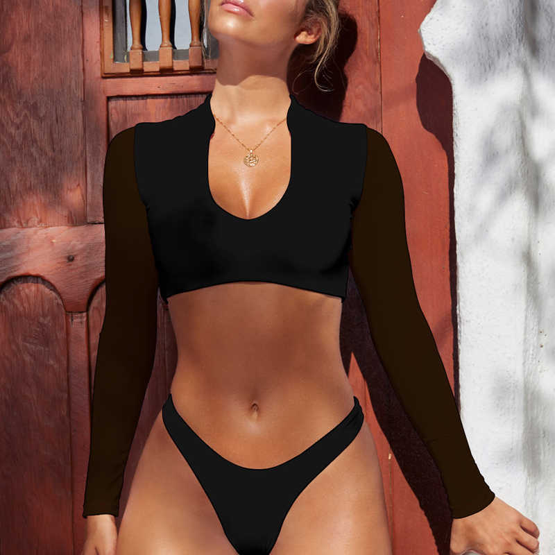 d82520af7 ... Bikinx Long sleeve brazilian bikini High cut white swimsuit Thong  swimwear women bathers Micro bikini 2019 ...