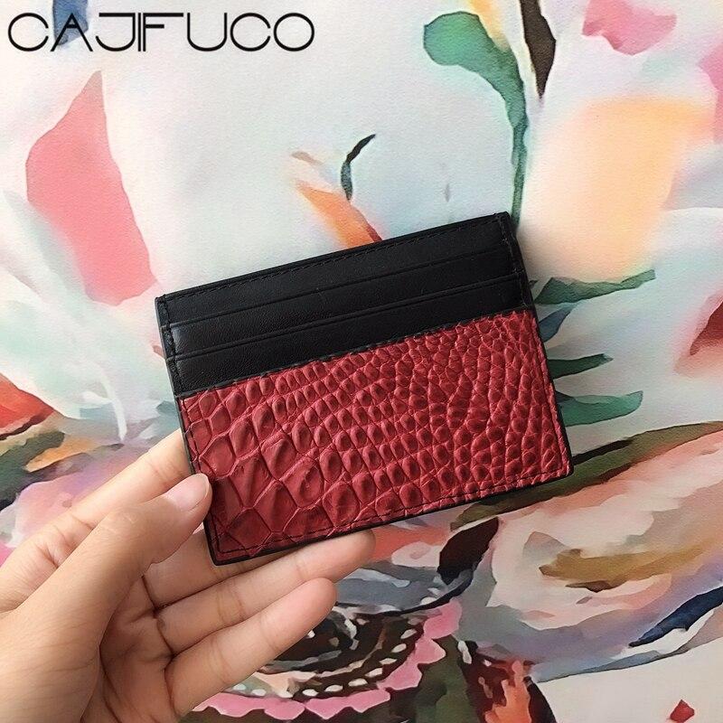CAJIFUCO Blackish Green Real Crocodile Skin Porte Carte Ultrathin Genuine Leather Credit Card Holder Classic Coin