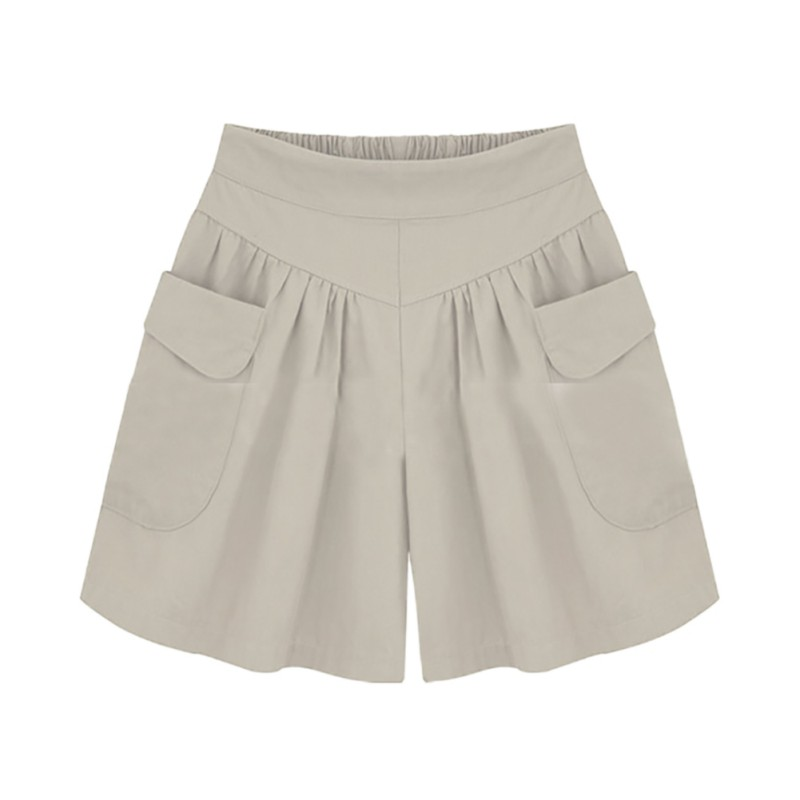 Summer Plus size   Short   women XL- 4XL 5XL Wide Leg Female   Shorts   Casual Loose Ladies Khaki High waist thin pantalones cortos