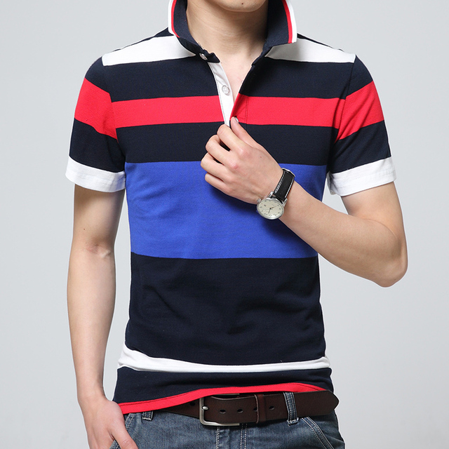 Fashion 2016 Male Short-Sleeve Polo Shirt Turn-Down Collar Wide Stripe England Jersey Cotton Slim Fit Patchwork Polo Homme
