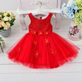 Free Shipping Retail Girl Dresses Children Party  Summer Princess Girl Dresses Wedding Dress Big Flowers High Quality 4 Colors