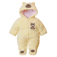 Cute Autumn Winter Cotton Baby Romper Fleece Long Sleeve Coverall Hooded Infant Bear Down Babies Jumpsuits