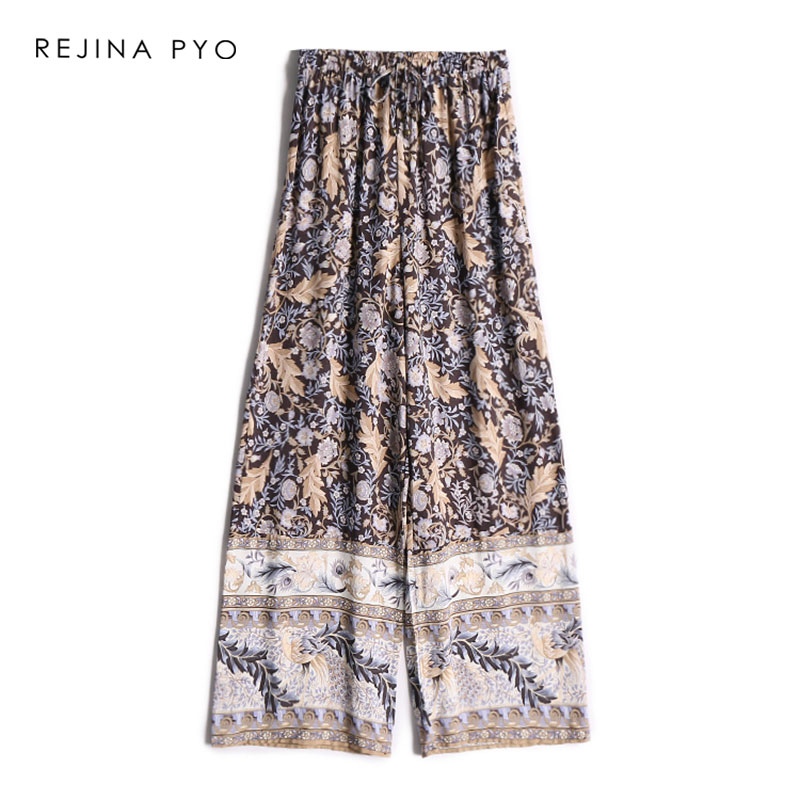 REJINAPYO American Style Women Loose Floral Printed   Pant   Female Casual High Waist   Wide     Leg     Pant   Holiday Breathable Trousers