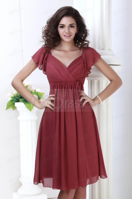 02527eed6ef Simple Cheap Dark Red Short Bridesmaid Dresses Short Sleeves Knee Length  Chiffon V-Neck A-Line Open Back Ruched Prom Dresses