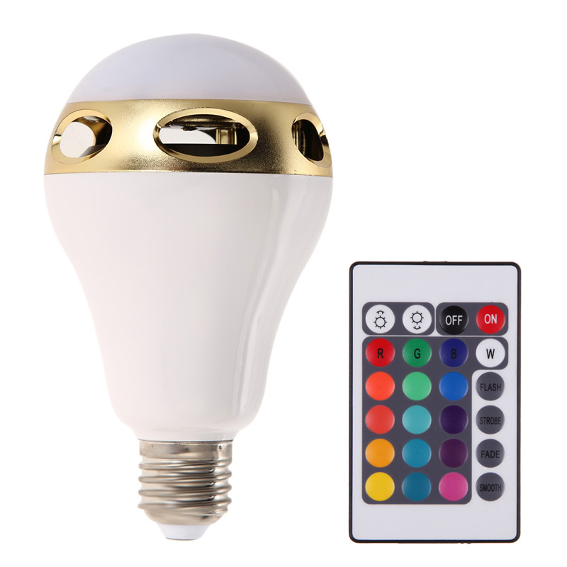 Free Shipping New Bluetooth Control Music Audio Speaker 15M Wireless Receiving Range LED Color Bulb Light Lamp E27 NG4S 2018 real cree new wireless bluetooth remote control mini smart e27 led for audio speaker color light warm bulb music lamp ir