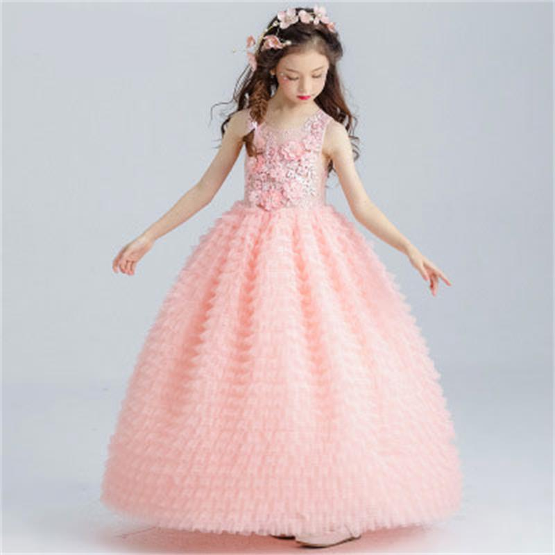 High Quality Girl Elegant Pink Dress Child Costume Princess Wedding Dress Carnival Show Child Lace Embroidery Dress Girl Costume