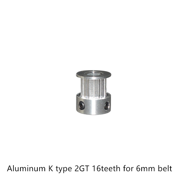 3d Printer Aluminum 2GT Timing Pulley 16teeth Bore 3mm 3.17mm 4mm 5mm 6 6.35mm For GT2 Belt Width 6mm