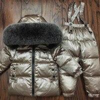 Russia Winter Children Clothing Sets Jumpsuit Snow Jackets+bib Pant 2pcs Boy Girls 1 10Y Duck Down Coats Jacket With Fur Hood