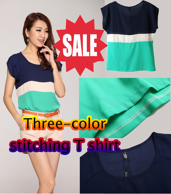 Free shipping CIROS brand new South Korean short-sleeved t-shirt summer stitching ladies' short sleeve casual t shirts t-shirt
