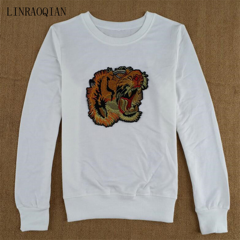 LINRAOQIAN high quality Embroidery Tiger Head T Shirt Women Tops Autumn Long Sleeve Tshirt Women Cotton T-Shirts Camiseta Mujer