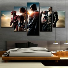 Modular Picture 5 Pieces Movie Justice League Poster Modern Home Decorative Wall Art High Quality Canvas HD Printed Painting