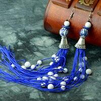 Ethnic Drop Earrings For Women Long Tassel Blue And White Porcelain Hanging Tibetan Silver Hook Vintage
