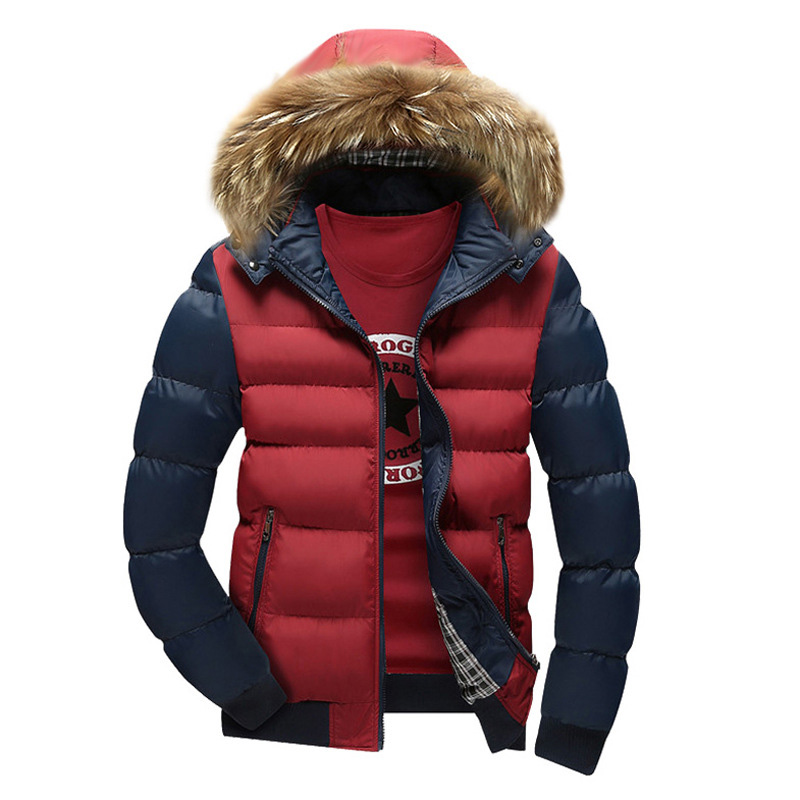 Winter Jacket Coat Parka Hooded Fashion Warm Jaqueta Outwear Spliced Casacas Fur-Collar