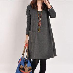 Image 3 - יולדות בגדי סתיו החורף חמוד V צוואר מוצק צבע לעבות החוצה משרד שמלת נשים בהריון הריון בגדים