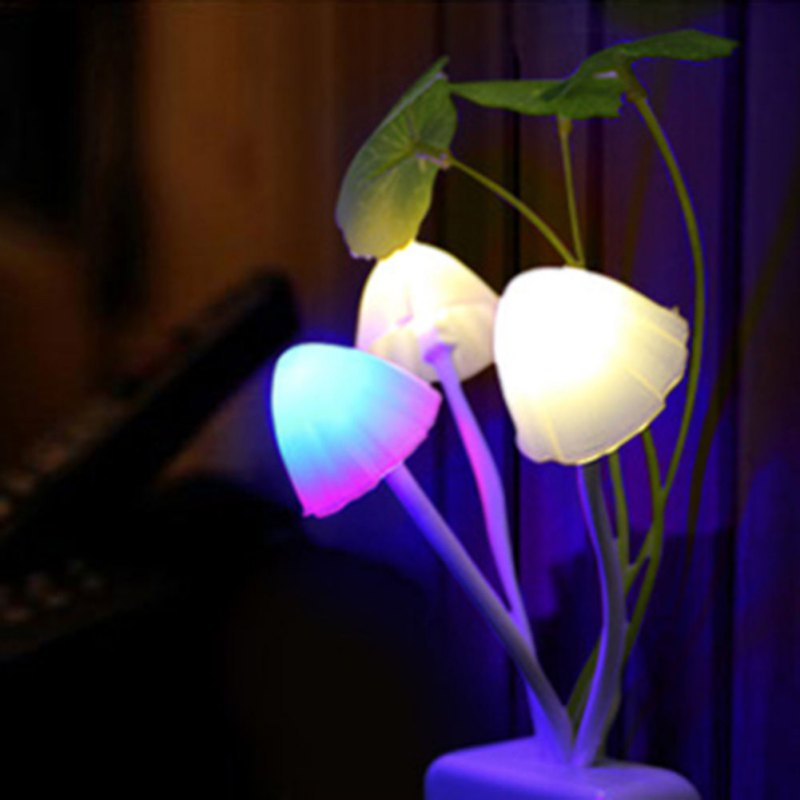 led night lights Novelty Night Light US Plug Induction Dream Mushroom Fungus Luminaria Lamp 220V 3 LED Mushroom Lamp
