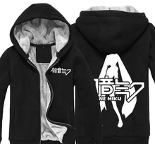 Japan Anime Miku Hatsune Miku Thick Fleece Mens USA Size Outwear Big Yards Cotton Hoodie Coat Jacket Parkas Warm