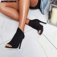TINGHON New Stretch Fabric Boots Women  Autumn Fashion Ankle Boots Peep Toe Stiletto Heel Shoes High Heel Botas mujer Black green knitted ankle boots women stretch peep toe sock booties cut out women pumps 9cm high heel shoes woman botines mujer
