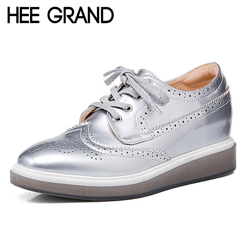 HEE GRAND Silver Brogue Shoes Woman 2017 Platform Oxfords Vintage Creepers Casual Wedges Pumps Spring High Quality XWD4889 hee grand gold silver high heels 2017 summer gladiator sandals sexy platform shoes woman casual shoes size 35 43 xwz4075