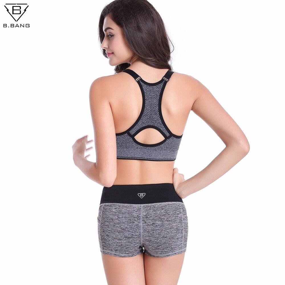 Vorschau von sehr günstig amazon US $37.99  B. BANG Vrouwen Yoga Sets Running Sport Bh + Shorts Set Fitness  Gym Push Up Naadloze Bras Tops Elastische Korte Broek voor Vrouwen in B. ...