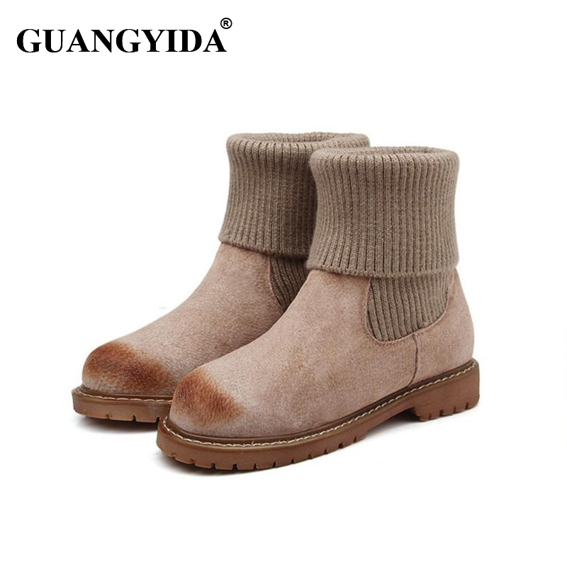 ФОТО 2016 Winter Warm Women Snow Boots Med Height Wool Boots Ankle Masculina Snow Boots Women Wool One Boot N22