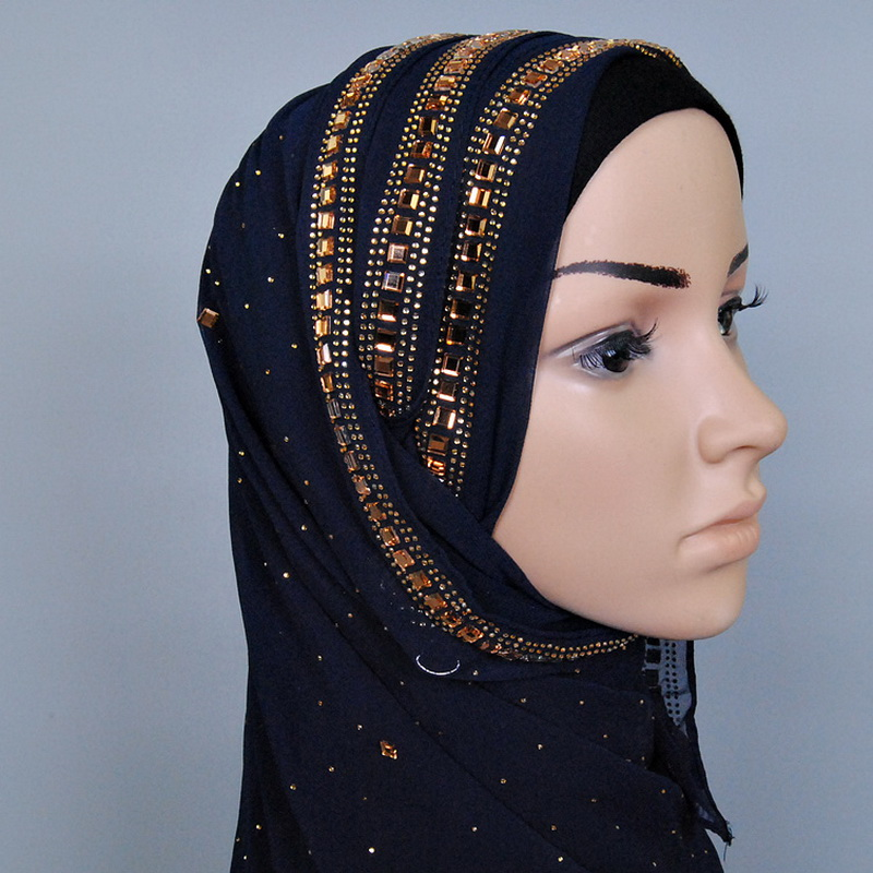 Classic Crystal Woman hijab Solid Color Rhinestone Shining High Quality Chiffon Silk Popular Shawls Scarf Headband Muslim Turban in Islamic Clothing from Novelty Special Use